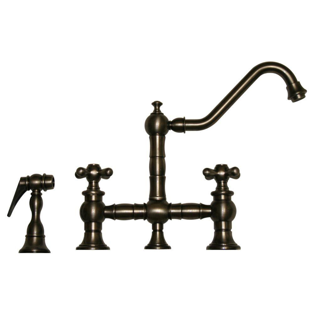 Whitehaus Collection Vintage III 2-Handle Bridge Kitchen Faucet with Side Sprayer in Pewter