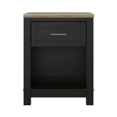Carver Black/Light Brown Nightstand