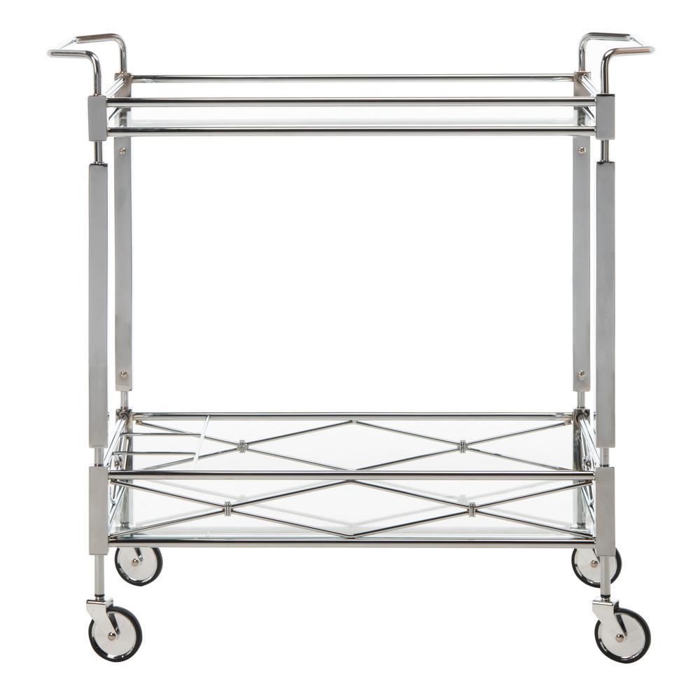 Ingrid 2-Tier Chrome Bar Cart