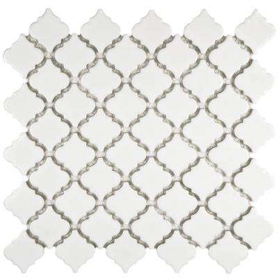 Hudson Tangier Glossy White 12-3/8 in. x 12-1/2 in. x 5 mm Porcelain Mosaic Tile