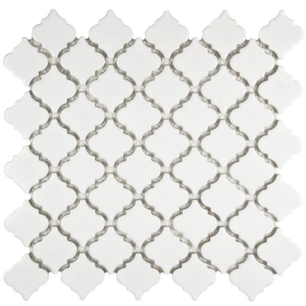 Hudson Tangier Glossy White 12 in. x 12 in. Porcelain Mosaic Tile (10.96 sq. ft. / Case)
