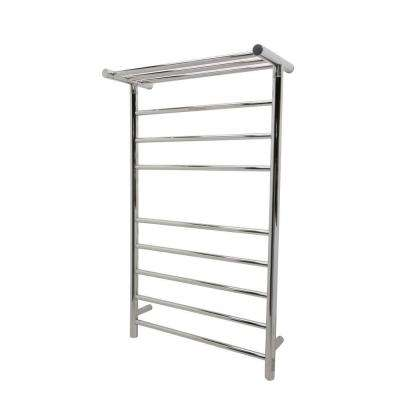 Eve 8-Bar Stainless Steel Wall Mounted Electric Towel Warmer Rack in Polished Chrome