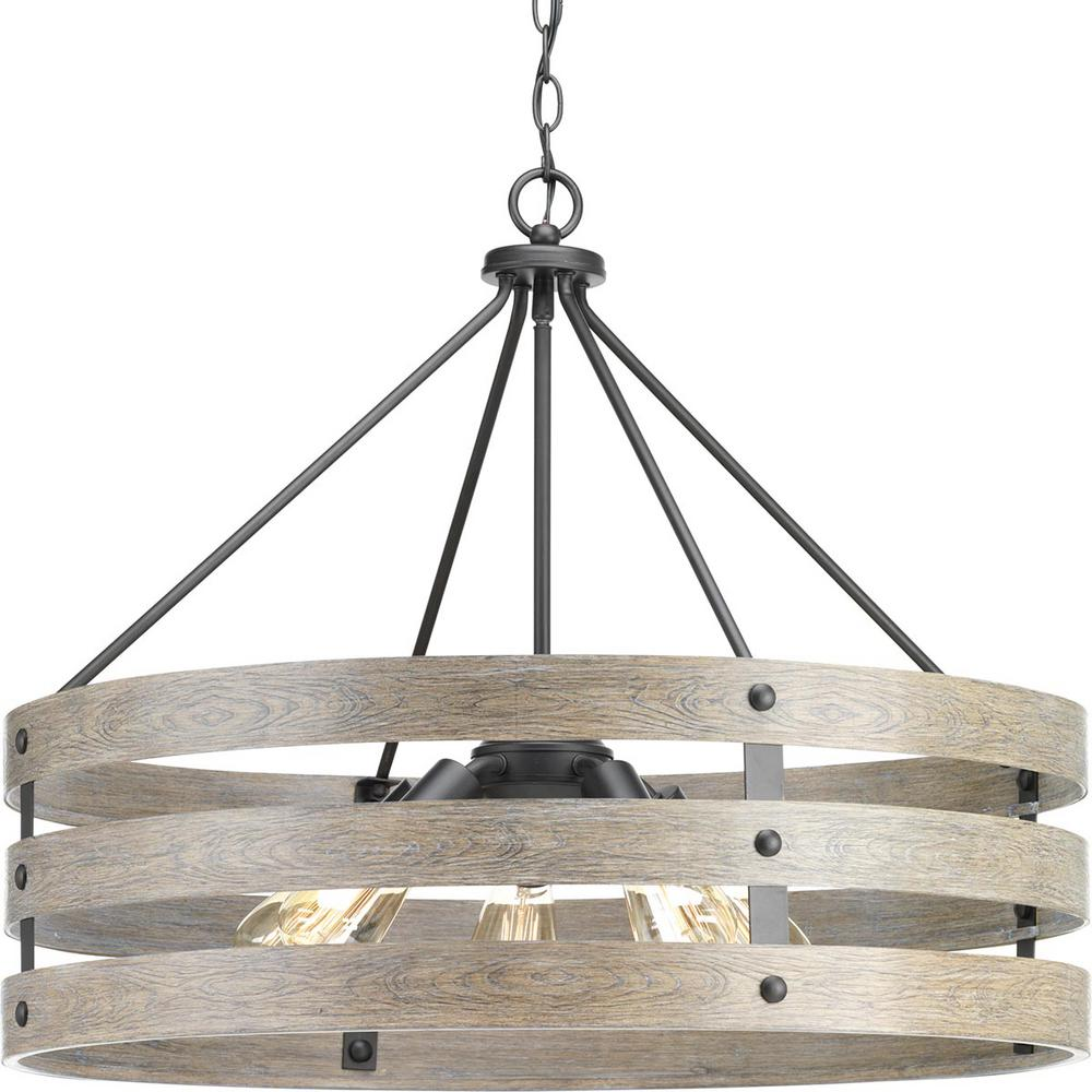 Progress Lighting Gulliver 5-Light Graphite Drum Pendant with Weathered Gray Wood Accents