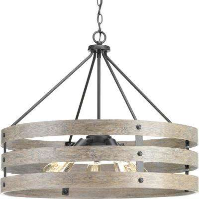 Gulliver 5 Light Graphite Drum Pendant With Weathered Gray Wood Accents