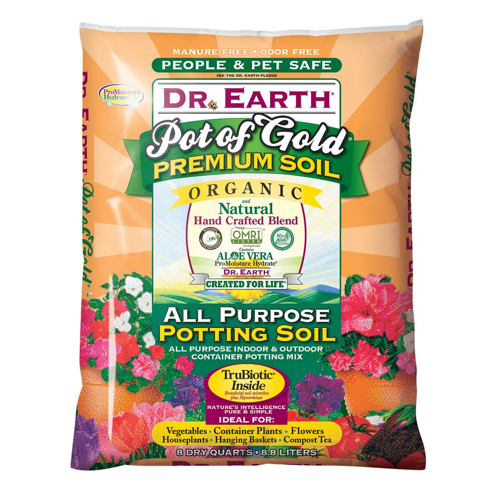 Dr earth 8 qt pot of gold all purpose potting soil 813x for Organic top soil
