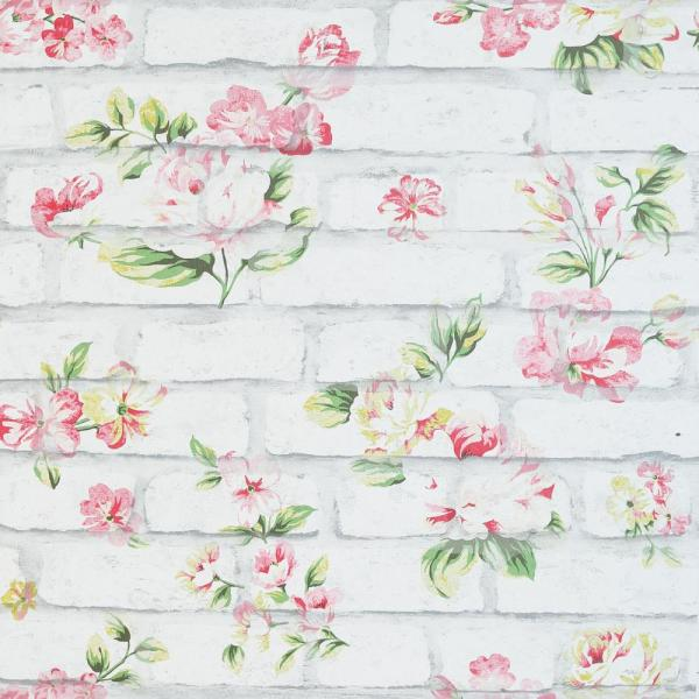 Arthouse Shabby Chic Brick Pink & White Wallpaper 907605 ...