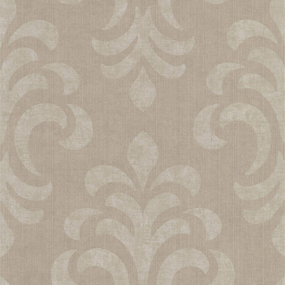 Atlantic Brown Modern Damask Wallpaper