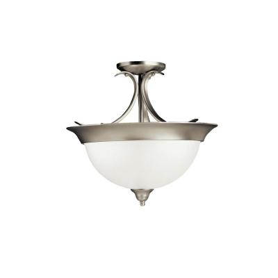 Dover 3-Light Brushed Nickel Semi-Flush Mount Ceiling Light with Etched Seeded Glass