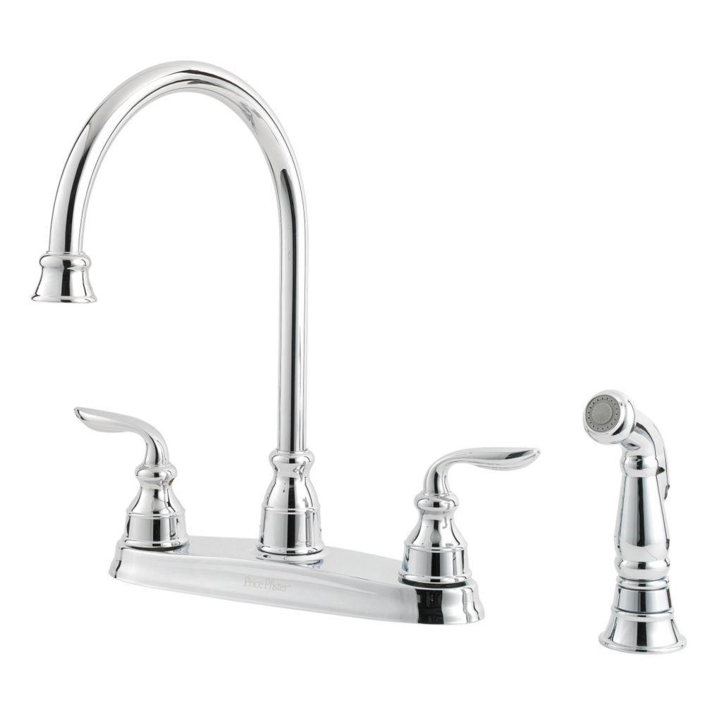 Pfister Avalon 2 Handle Kitchen Faucet In Polished Chrome Gt364cbc