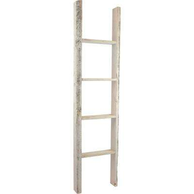 15 in. x 72 in. x 3 1/2 in. Barnwood Decor Collection Chalk Dust White Vintage Farmhouse 5-Rung Ladder