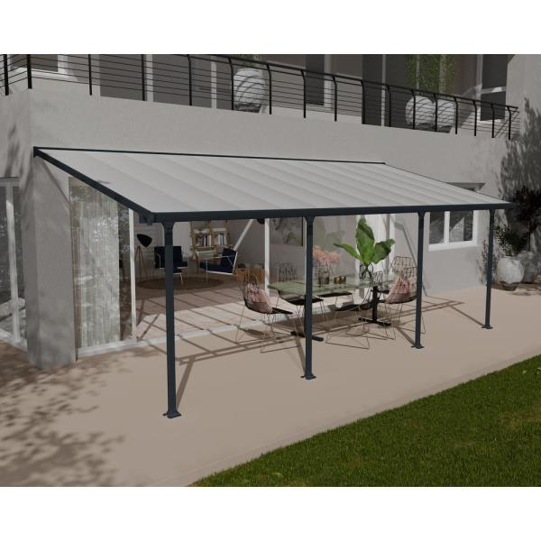 Palram Feria 10 Ft X 24 Ft Grey Patio Cover Awning 702740 The Home Depot