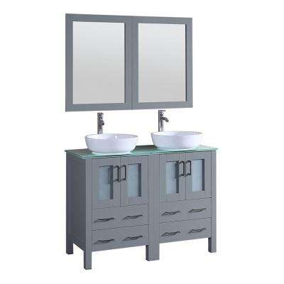 48 in. W Double Bath Vanity with Tempered Glass Vanity Top in Green with White Basin and Mirror
