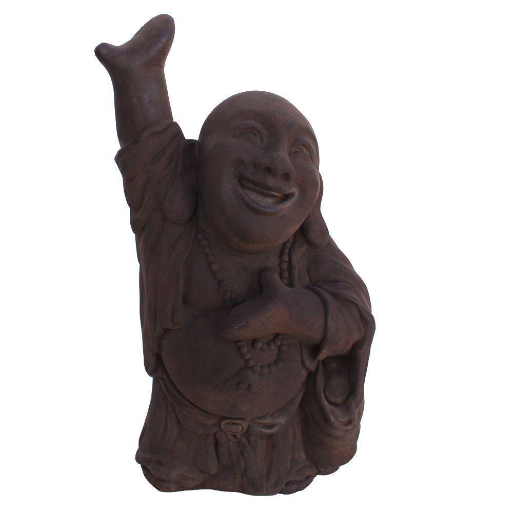 Cast Stone Hotai Buddha Garden Statue, Dark Walnut