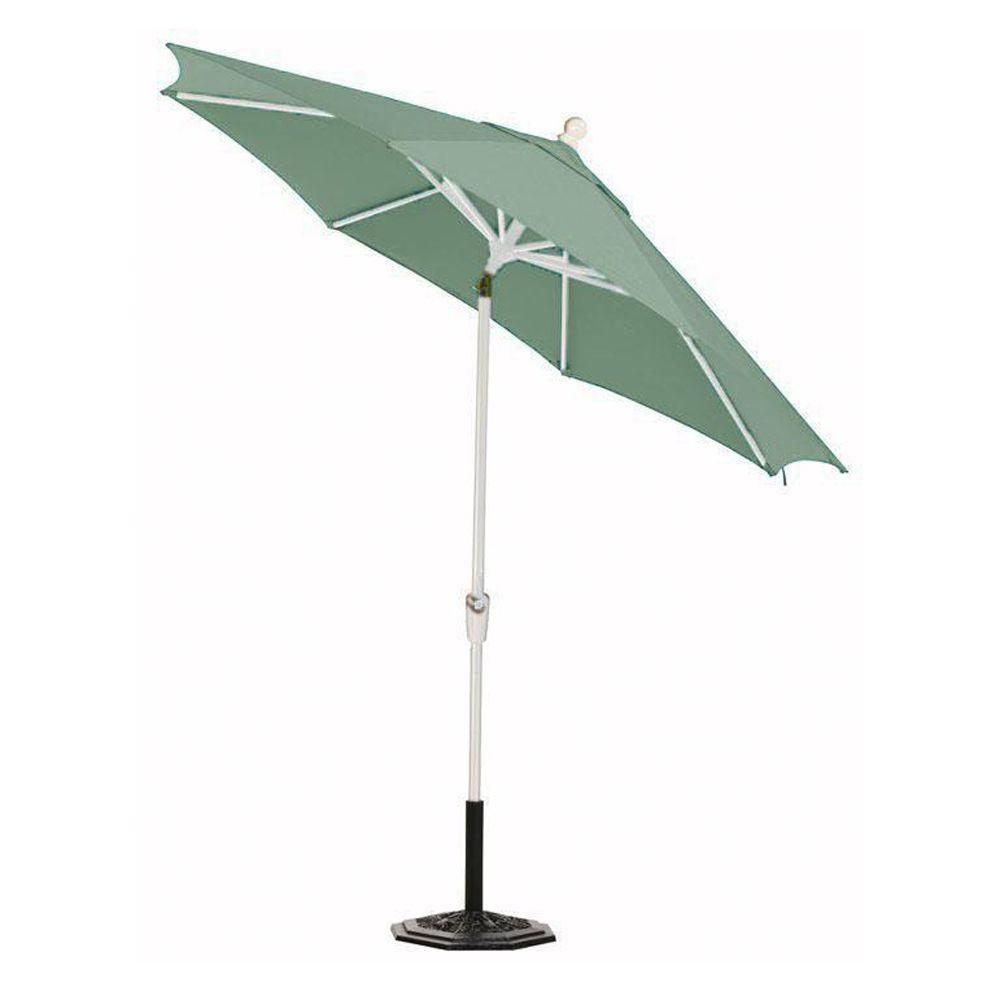 Home Decorators Collection Sunbrella 6 ft. Auto-Crank Tilt Patio Umbrella in Mist