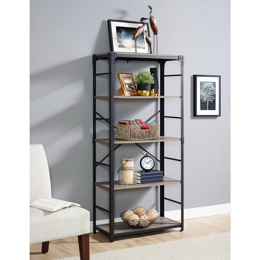 Superb Driftwood Angle Iron Bookshelf