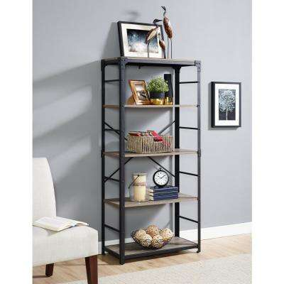 64 in. Driftwood Angle Iron Bookshelf