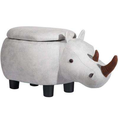 Animal Shape Gray Storage Ottoman