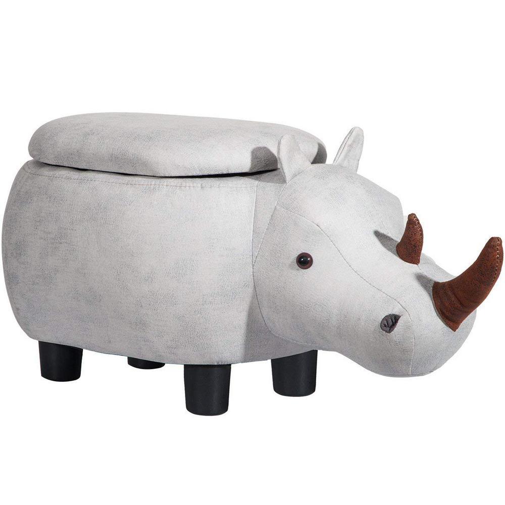 Grey Rhinoceros Animal Storage Ottoman Footrest Stool