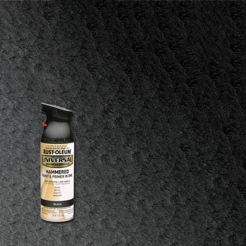 Rust Oleum Universal 12 Oz All Surface Hammered Black Spray Paint And Primer In One 245217
