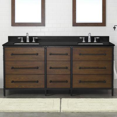 Grandburgh 73 in. W x 22 in. D Bath Vanity in Coffee Swirl with Granite Vanity Top in Black with White Sinks
