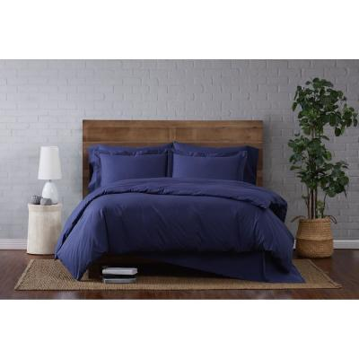 Classic 3-Piece Cotton Navy Full/Queen Duvet Set