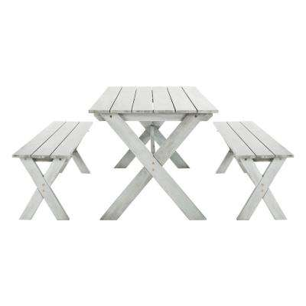 Marina Grey Wash 3-Piece Wood Outdoor Dining Set