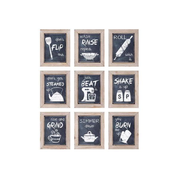 """IMAX - 10.5 in. x 8.5 in. """"Kitchen Inspirations"""" 9-Piece Framed Wall Art"""