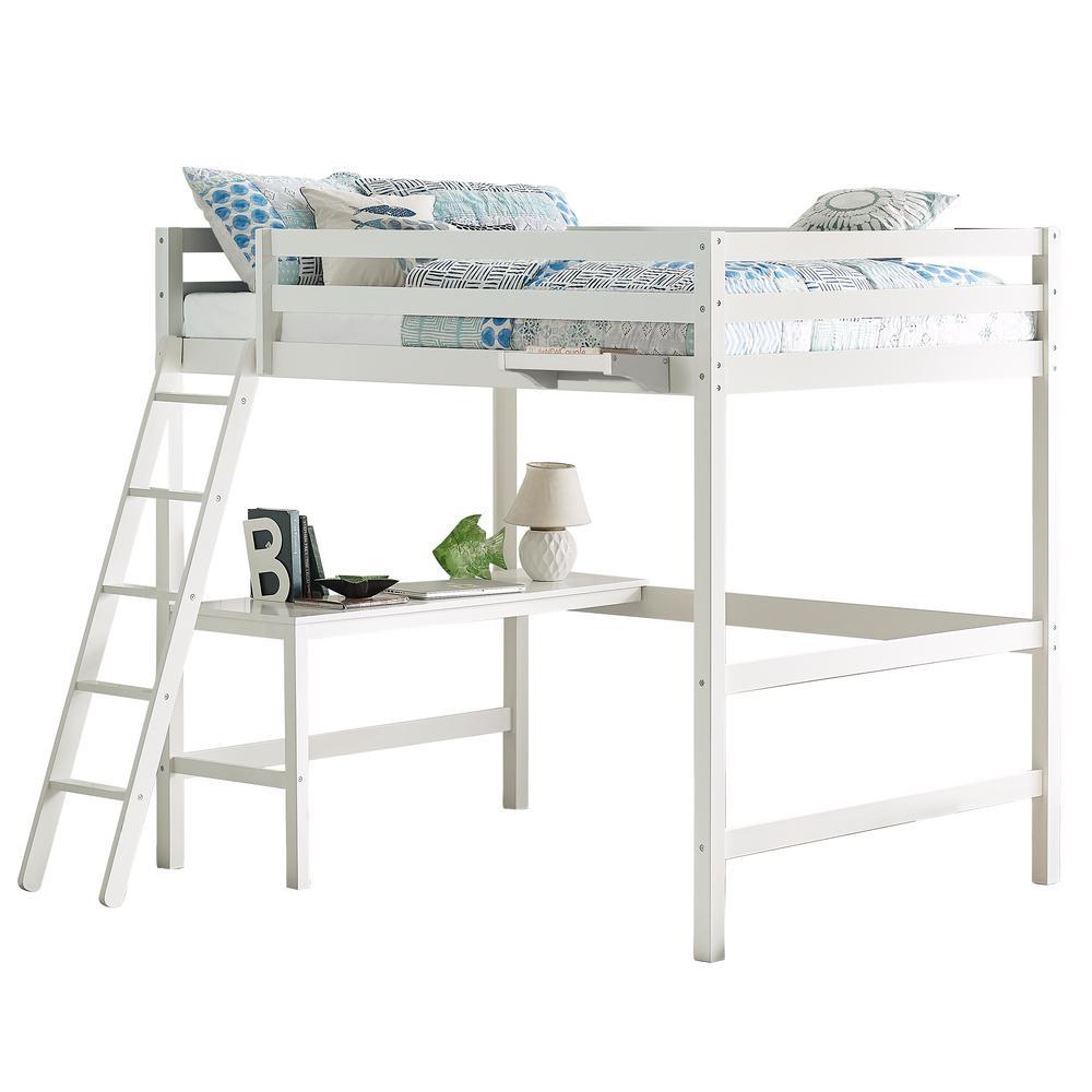 Caspian White Full Loft With Hanging Nightstand