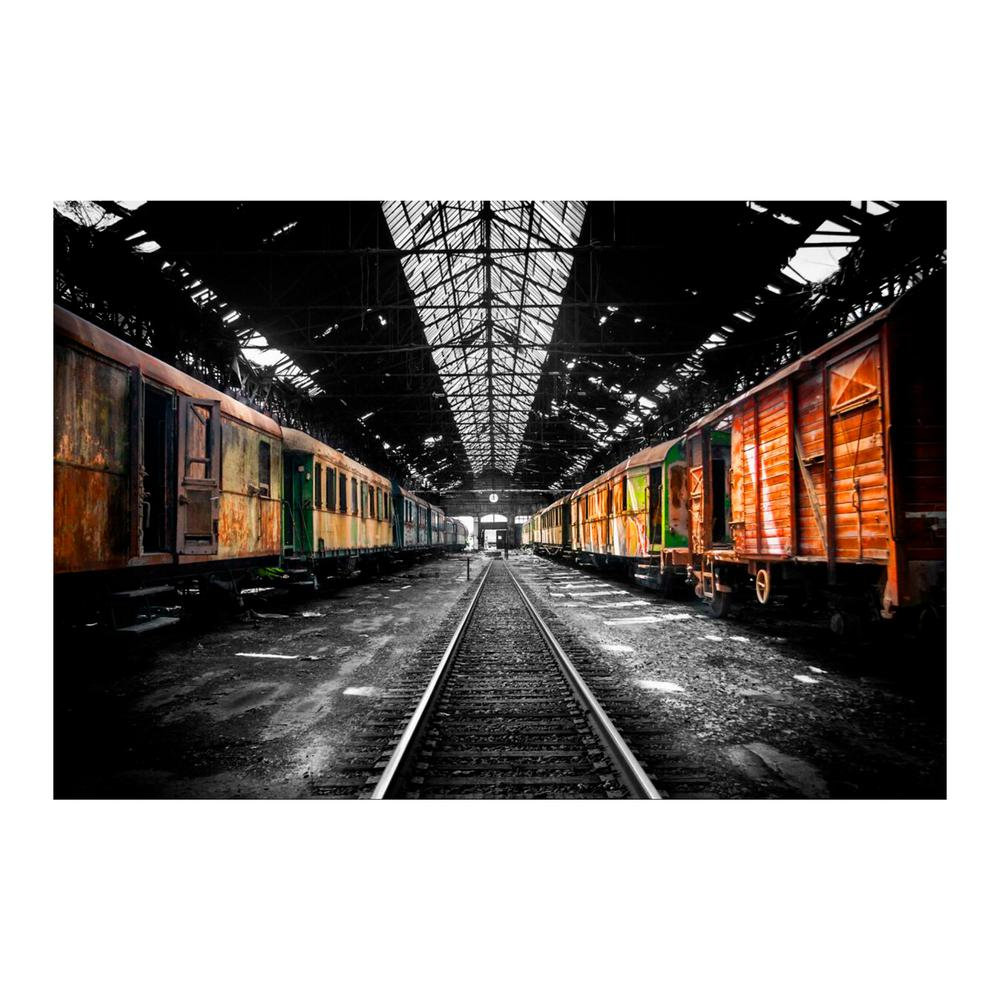 Yosemite Home Decor 32 In X 47 Retro Freight Cars Tempered