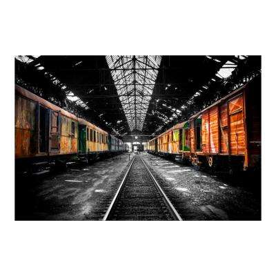 "32 in. x 47 in. ""Retro Freight Cars"" Tempered Glass Wall Art"