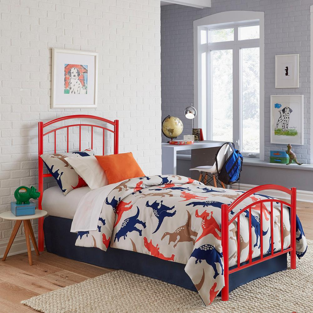 Fashion Bed Group Rylan Tomato Red Twin Kids Bed with Metal Duo ...