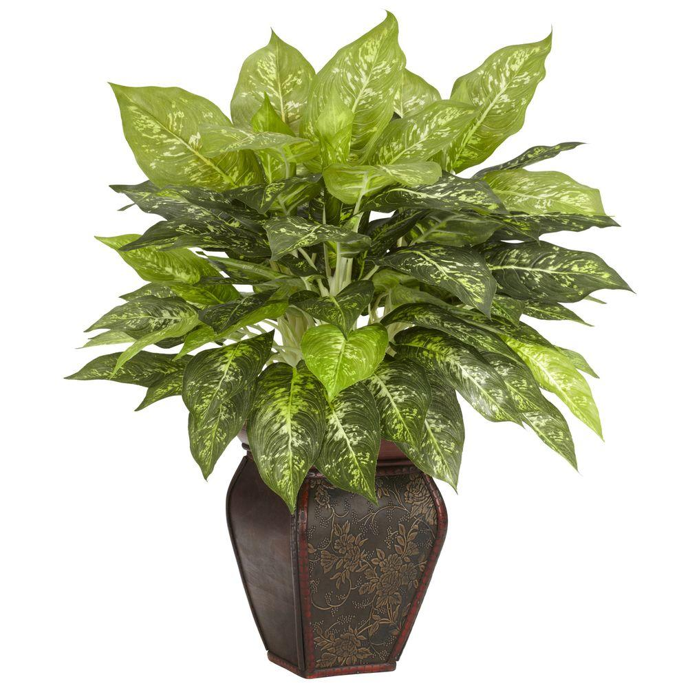 Nearly Natural 23 In H Green Dieffenbachia With Decorative Vase