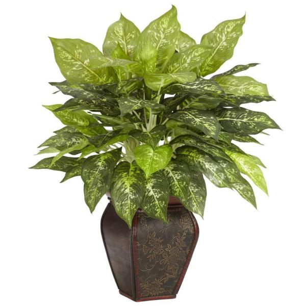 Nearly Natural 23 in. H Green Dieffenbachia with Decorative Vase Silk