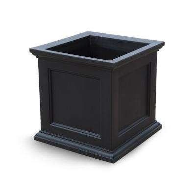 Fairfield 28 in. Black Plastic Square Planter