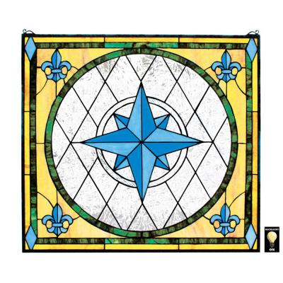 Compass Rose Stained Glass Window Panel