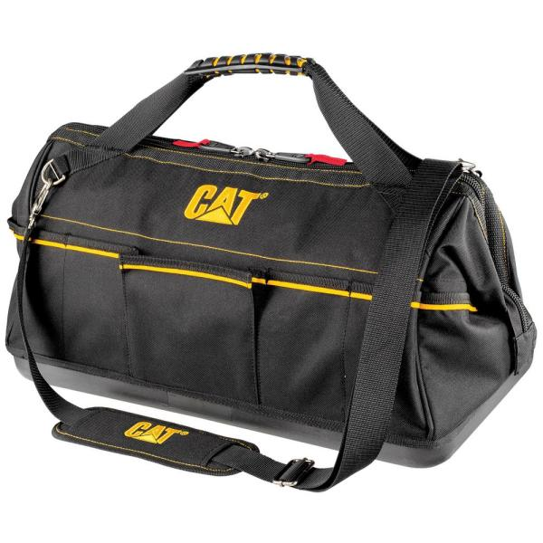 20 in. 12-Pocket Tech Wide Mouth Tool Bag in Black