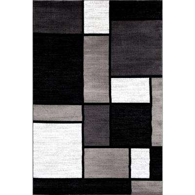 Contemporary Modern Boxes Gray 3 ft. 3 in. x 5 ft. Indoor Area Rug