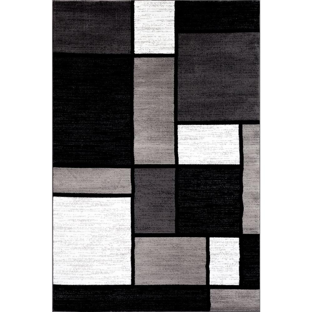 World Rug Gallery Contemporary Modern Boxes Gray 5 Ft 3