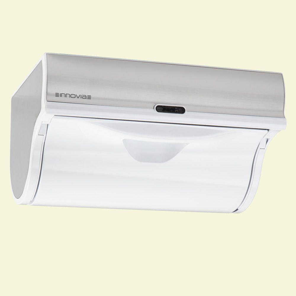 Innovia Automatic Paper Towel Dispenser - White, Stainless Steel And Matte White Plastic Simplify your kitchen cleaning needs with the Innovia Automatic Paper Towel Dispenser. Stay germ free with this paper towel dispenser engineered to reduce cross-contamination. It accepts all household paper towels regardless of sheet and size. Color: Stainless steel and matte white plastic.