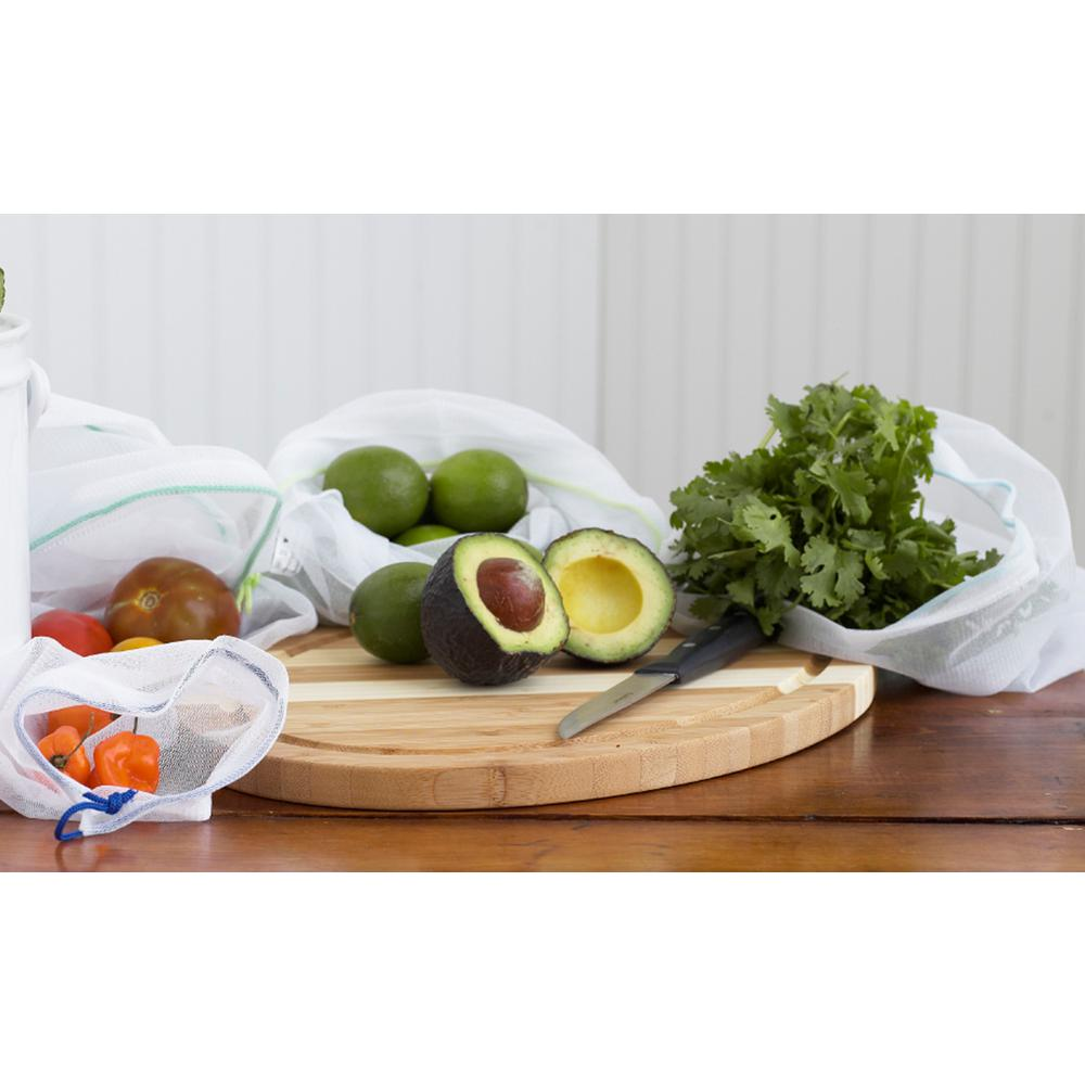 Natural Home Brands White Reusable Veggie Bags (Set of 5) The Natural Home Veggie Bags with drawstrings are designed to make shopping and storing produce more convenient and sustainable. Have a pesky collection of produce bags from multiple past shopping trips. - These veggie bags are a great way to cut down plastic bag use while shopping for all your fruit is and veggies. When kept in sealed bags, fruit is and veggies break down quicker. These bags are breathable, so they are able to absorb moisture and air, keeping your produce fresher, longer. This enables less waste and more savings.