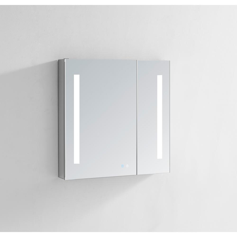 Aquadom Signature Royale 30 in W x 30 in. H Recessed or Surface Mount Medicine Cabinet with Bi-View Doors and LED Lighting