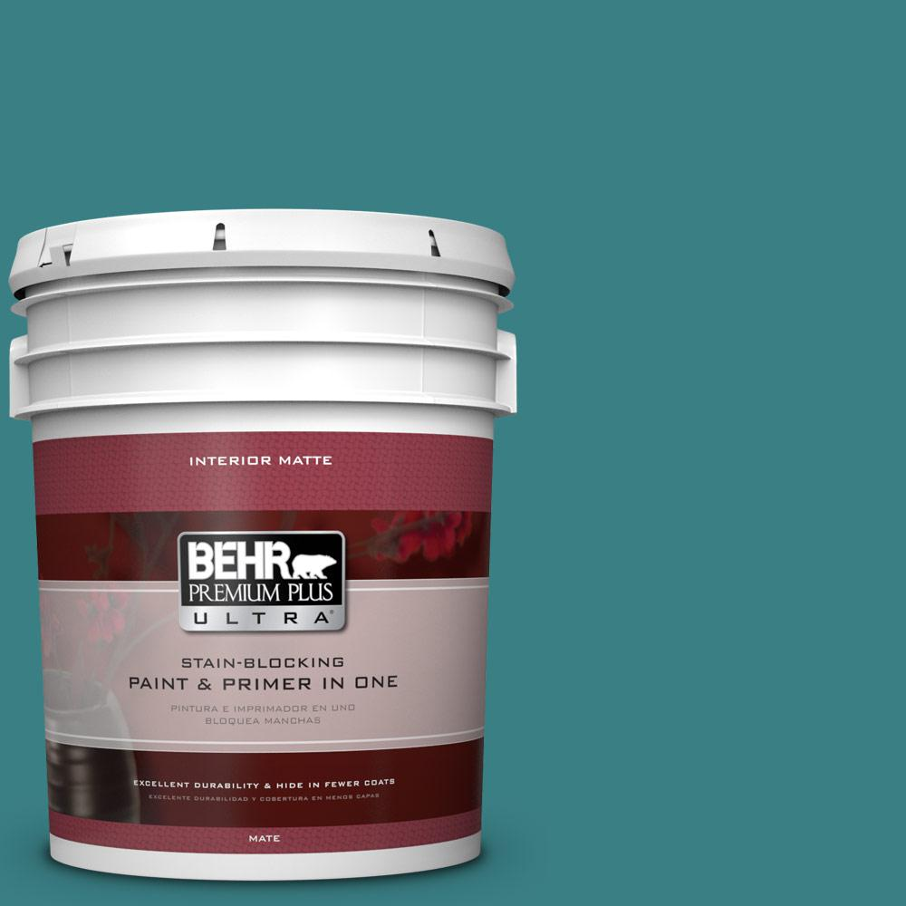 5 gal. #510D-7 Pacific Sea Teal Flat/Matte Interior Paint