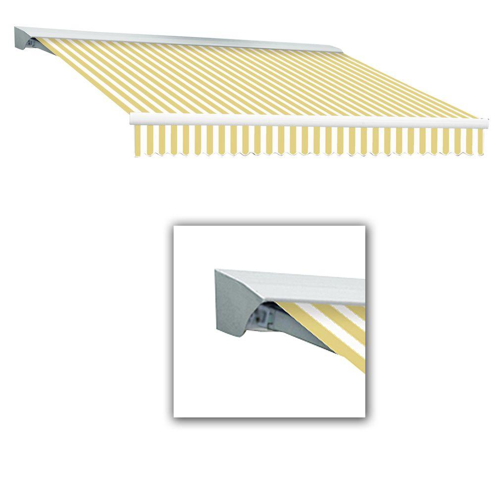 AWNTECH 10 ft. LX-Destin Hood Left Motor with Remote Retractable Acrylic Awning (96 in. Projection) in Yellow/White