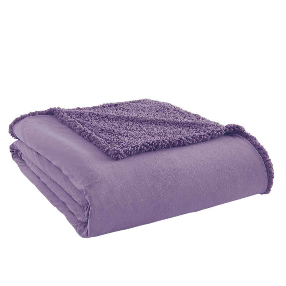 Amethyst Sherpa Back Polyester Queen Blanket