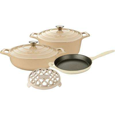 PRO 6-Piece Enameled Cast Iron Cookware Set with Saute, Skillet and Round Casserole with Trivet in Cream