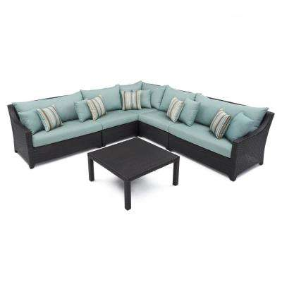 Deco 6-Piece Wicker Patio Sectional Seating Set with Bliss Blue Cushions
