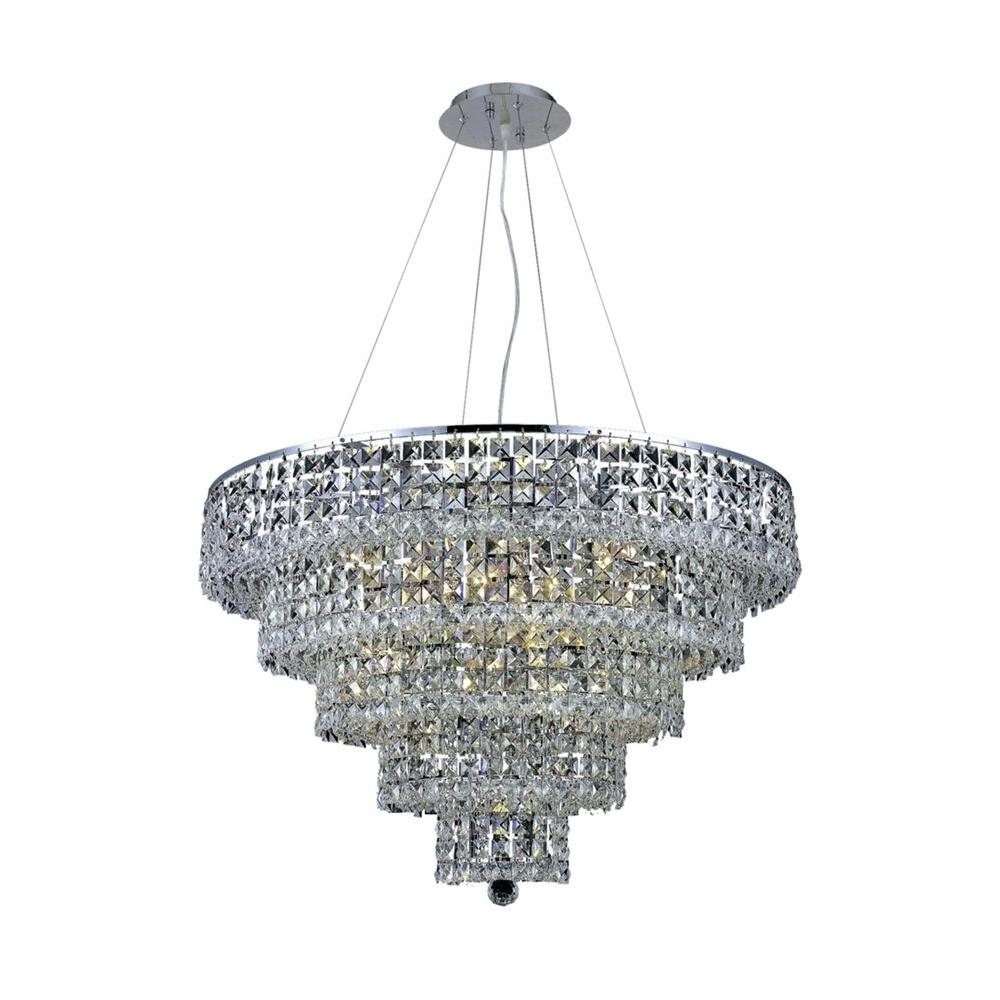 Elegant Lighting 17-Light Chrome Chandelier with Clear Crystal