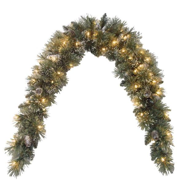 72 in. Glittery Bristle Pine Mantel Swag with Clear Lights