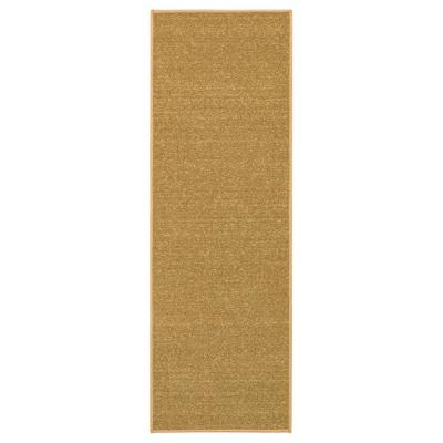 Ottohome Collection Solid Design Beige 20 in. x 59 in. Runner Rug