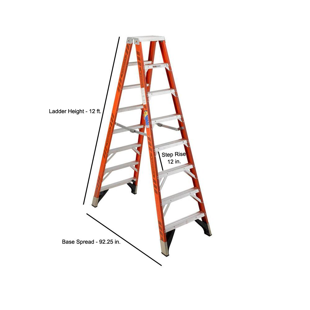 Werner 12 Ft Fiberglass Twin Step Ladder With 375 Lb Load Capacity Type Iaa Duty Rating T7412 The Home Depot